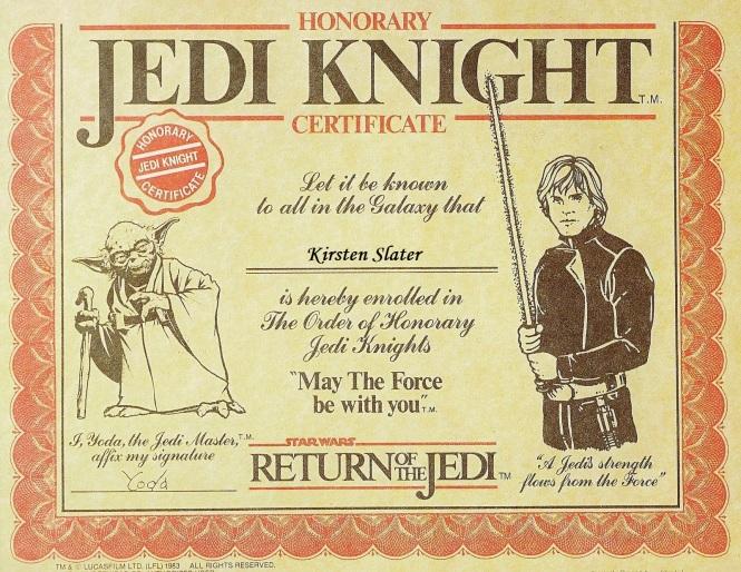 Jedi Certificate Dr Slater